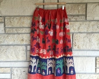 Vintage Rare Handmade Mola Skirt • Folk Art Skirt • Novelty Skirt