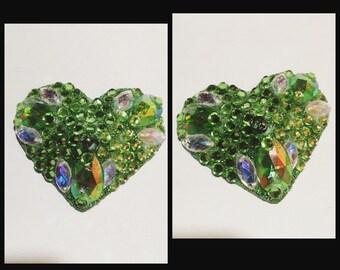 Burlesque Steadfast 3D  Rhinestoned Custom HEART Pasties