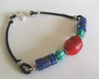 Natural Coral Turquoise Lapis Lazuli Unisex Leather Or Handwoven Cord Bracelet