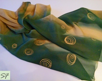 Hand Painted Silk Scarf, Spring Chiffon Scarf, Dark-Green Brown, Mother Day Gift, Batik Scarf, Chiffon Scarf, Gift for Her, Light Scarf