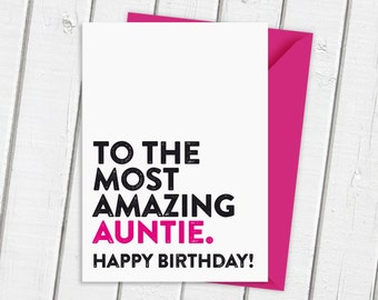 Most Amazing Aunt | Card for Aunt | Card For Aunty | Card for Auntie | Birthday Card | Typographic Card | Contemporary Card