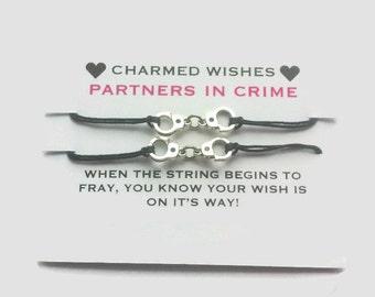 Partners in crime Bracelets   Best friends bracelets   Wish bracelet   BFF jewellery   BFF gifts   Friendship bracelet   Handcuff bracelet