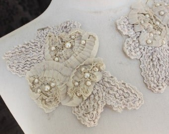 Cute embroidered  and  beaded  flower applique  ivory  color 2 piece listing
