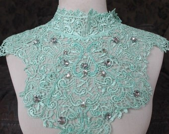Cute venice beaded applique mint color 1 pieces listing 14 inches wide from shoulder to shoulder 4 1/2 inches wide at the shoulder