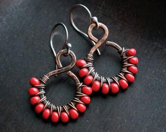 Red beaded dangle earrings, Czech glass seed beads, oxidized copper, wire wrapped earrings, swirl, drop, Mimi Michele Jewelry