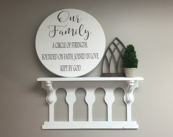 """Our Family a circle of strength Hand Painted 24"""" Round Wooden Sign"""