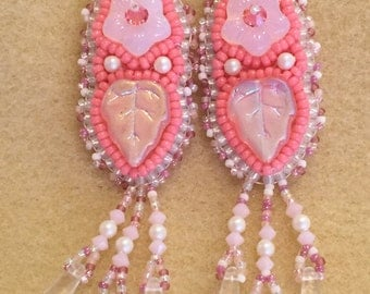 PATTERN Bead Embroidery Earrings with daggers plus choice of Flowers Cabochons Buttons