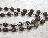 8mm Smooth Tibetan Agate beads  with Antique Bronze Wire Chain // Beaded Gemstone Jewelry Chain // Unfinished Chain