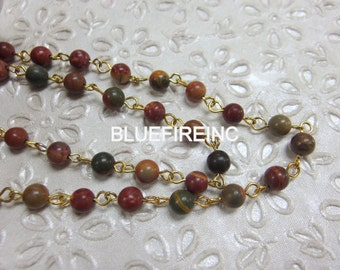 3 feet Smooth Red Creek Jasper Gemstone Beads with 24k Gold Plated Cooper Wire Chain // Beaded Gemstone Jewelry Chain // Unfinished Chain
