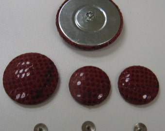 Red Leather Covered Buttons in Snakeskin Pattern