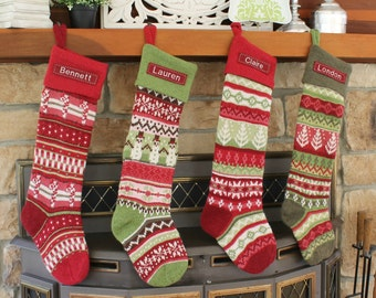 SIZE A Green Snowman (28-29'' Long) --- Knitted Pottery Barn --- Free Monogram --- Fair Isle Stocking
