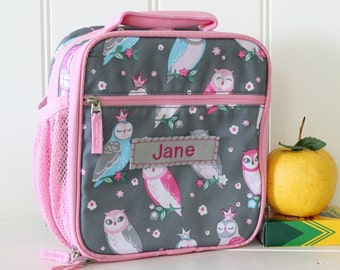 Lunch Bag With Monogram Classic Style Pottery Barn -- Gray/Pink Owl