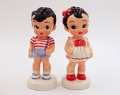Sun Rubber, Vintage Dolls , home decorating, Handmade Ceramic Dolls , Clay Art Dolls , Hand Painted Dolls,BOY AND GIRL , Ready to shiped!