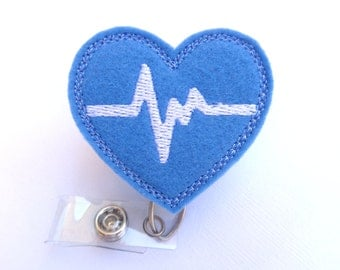 Retractable badge holder - nurse badge holder - Heartbeat EKG blue felt with white - nurse badge reel medical badge reel