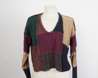 earth tones cropped cotton pullover brown and green 80s vintage V neck sweater small medium
