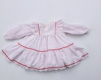white and red swiss dot 80s vintage Bryan baby dress long sleeve infant 18 months ruffle and lace dress