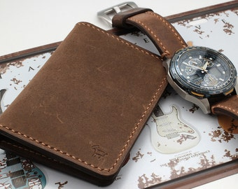 Hand Stitched Slim Leather Wallet in RUSTIC DISTRESSED BROWN