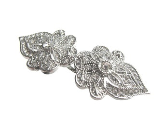 5 Crystal Rhinestone Buckle, Art Deco Hairclip, Vintage Haircomb, Garter, Bridal Headpiece BUC-029