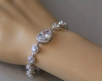 Cubic zirconia bracelet, bridal bracelet, wedding bracelet, bridal jewelry, wedding jewelry, leave shaped, flower shape bracelet
