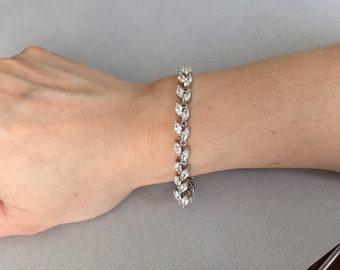 Cubic zirconia bracelet, bridal bracelet, wedding bracelet, bridal jewelry, wedding jewelry, leave shaped bracelet