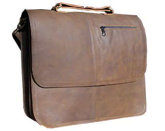 "Leather Messenger Bag, Laptop Bag, Macbook Pro 15"", Satchel, Briefcase, Man Bag in Dark Brown MB28b"
