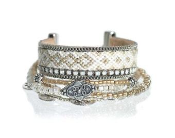 White beaded bracelet / white friendship bracelet / layering bracelet / multistrand bracelet / bohemian jewelry / bohemian wedding bracelet