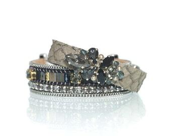 Gift for her / bracelet set of two / Christmas gift / holidays gift / black bracelets / fish leather bracelet / miyuki tila bracelet