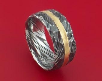 Kuro Damascus Steel Ring and 14k Yellow Gold Wedding Band Genuine Craftsmanship Custom Made