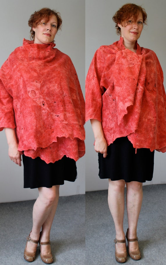 Felted summer red jacket low price Alar  handmade original exclusive wraps comfortable Regina Doseth handmade in Lithuania Europe XL large