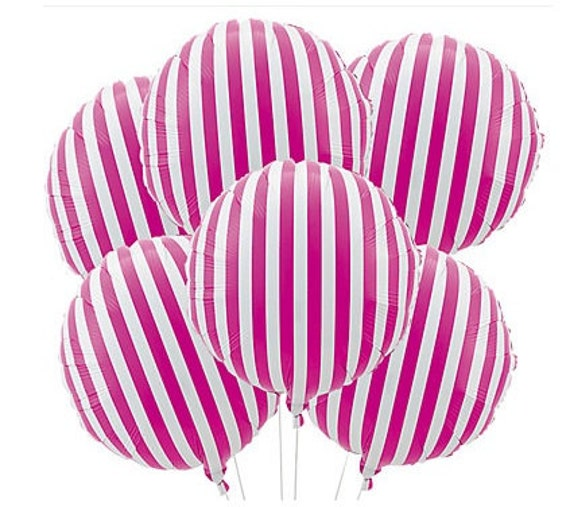 set 3 hot pink white striped mylar balloons 18 candy land retro chic birthday party 50s baby bridal shower bachelorette fuchsia 1st