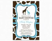 Giraffe Baby Shower Invitation, Blue and Brown Giraffe Baby Shower Invitation, Boy Giraffe Baby Shower Invitation