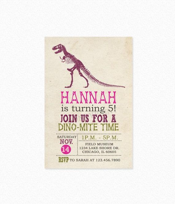 Dinosaur Birthday Party Invitation, Girl Dinosaur Birthday Party Invitation, Personalized, Printable or Printed