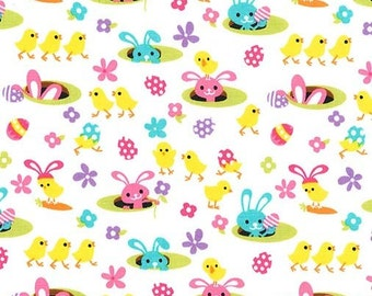 Michael Miller Easter Gnomes Spring Meadow Fabric - 1 yard