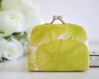 Water Flower in Chartruese - Tiny Kiss lock Coin Purse/Jewelry holder