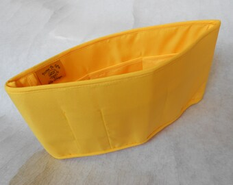 Purse To Go(R) Purse organizer insert transfer liner-Yellow color, small size- Enclosed bottom- Bucket type- Change purses in seconds