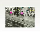 SALE 25% OFF Swimming Pool Print, Geometric Art, People Art, Pop Surrealism, Spots, Circle Shapes - Gala