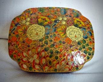 Vintage Wooden Black Lacquer Box / Hummingbirds / Flowers / Trinket / Khokhloma / Hand Painted Russian Folk Art