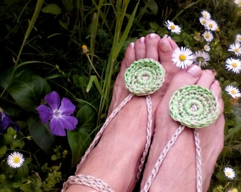 Green Hippy anklets Barefoot sandals crochet Nude shoes Yoga Bohemian Beach Wedding Foot jewelry Yoga anklets Gift for her Summer sandals
