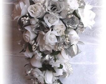2pc Wedding Bouquet Bride Cascade Groom Boutonniere SILVER White Silk Flowers