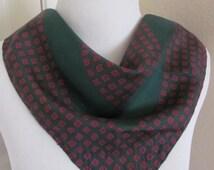 "Beautiful Small Dark Green Silk Scarf - 16"" Inch 44cm Square"