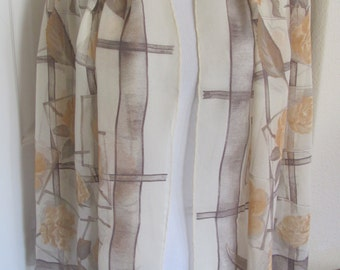 "Longchamp // Beige Ivory Soft Sheer Silk Scarf // 26"" x 60"" Long // Best of the Best"