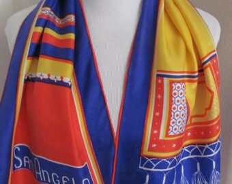 "Sant Angelo // Lovely Yellow Orange Blue Silk Scarf // 11"" x 40"" Long"