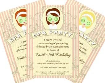 Printable DIY Spa Party Sleepover Pajama Birthday Party Invitations