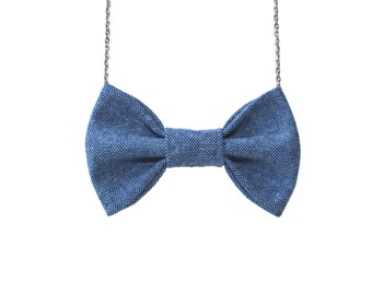 Blue Chambray - nBowTie Necklace, Balue - Pre-tied No Collar Bowtie with Chain Closure for Parties, Holidays, Office