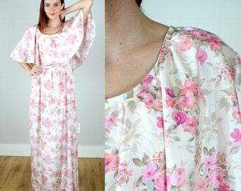 Vintage 70s Pink Floral Goddess Gown