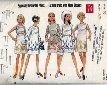 Vintage Loose-Fitting Slim Dress Sewing Pattern - Butterick 5244 - Size 10 - Bust 32 1/2