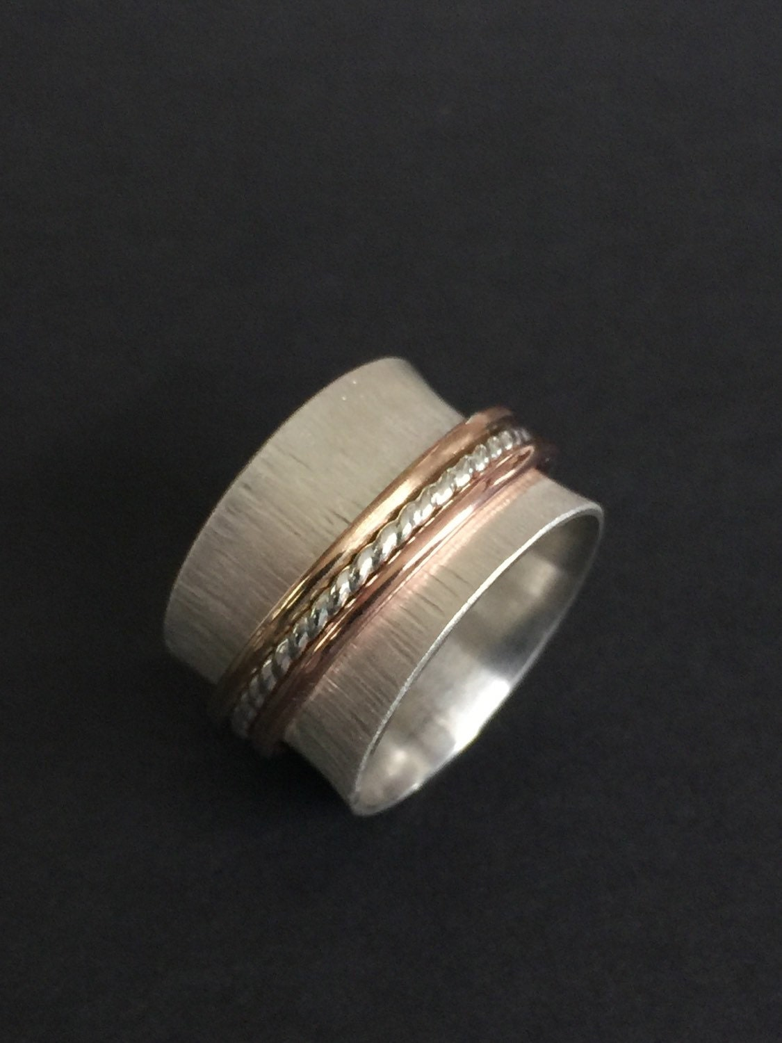 wide sterling silver spinning ring chunky silver by