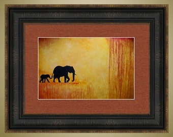 PRINT Reproduction -- Elephant Mother and Baby Limited Edition Signed Print -- 12 x 18 -- I Will Follow You