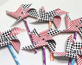 Race car Birthday Party favor, Pixy Stick Pinwheels favor - checkered flag, race car birthday, race car baby shower, race car party favor