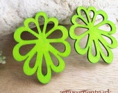 WP10 / # 5 Daiquiri Green / Filigree Wood Flower Pairs for Earring /Laser Cut  Lace Wooden Charm /Pendant /Handmade Wood Jewelry Findings